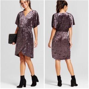 Crushed velvet wrap dress